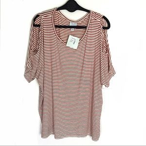 CB Sunday Cold Shoulder Red Striped Tee New 2X